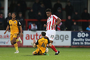luke Joyce and Rohan Ince    during the The FA Cup match between Cheltenham Town and Port Vale at Jonny Rocks Stadium, Cheltenham, England on 30 November 2019.