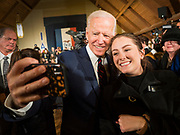 18 JANUARY 2020 - INDIANOLA, IOWA: Former Vice President JOE BIDEN takes selfies with people on the rope line after speaking during a campaign event at Simpson College Saturday. About 250 people came to Simpson College to listen to Vice President talk about his reasons for running for President. Iowa hosts the first event of the presidential election cycle. The Iowa Caucuses are Feb. 3, 2020.        PHOTO BY JACK KURTZ