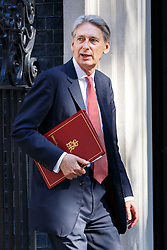 © Licensed to London News Pictures. 19/07/2016. London, UK. Chancellor of Exchequer PHILIP HAMMOND attending the first cabinet meeting under Theresa May's leadership in Downing Street on Tuesday, 19 July 2016. Photo credit: Tolga Akmen/LNP