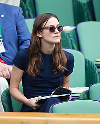 LONDON, ENGLAND - Saturday, July 5, 2014: Actress Keira Knightley during the Ladies' Singles Final match on day twelve of the Wimbledon Lawn Tennis Championships at the All England Lawn Tennis and Croquet Club. (Pic by David Rawcliffe/Propaganda)