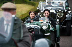 © Licensed to London News Pictures. 13/07/2015. Epsom, UK. SEREN and ELISE WHYTE (corrrect spelling) prepare to set off in their 1934 Austin Seven Super 750. The start of The Royal Automobile Club 1000 Mile Trial 2015 at Woodcote Park in Epsom, Surrey. The event, which starts and finishes at Woodcote Park, takes a fleet of over 40 classic cars from around the world, through a 1000 mile trial around the UK.  Photo credit: Ben Cawthra/LNP