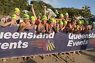 2010 Noosa Triathlon Festival.ENDURA Noosa Run Swim Run.Kids give the thumbs up for the start of the run swim run..27/10/2010.Noosa Main Beach, Noosa, Queensland, Australia.
