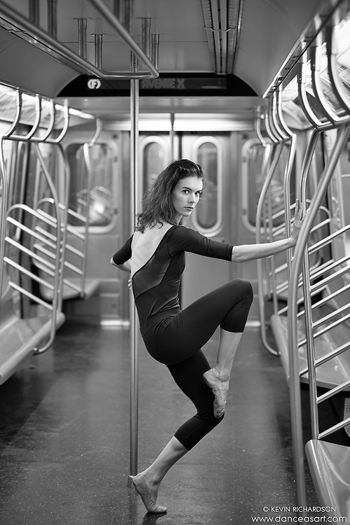 Black and White New York City Subway Dance As Art Photography Series with dancer Lucy Postrell