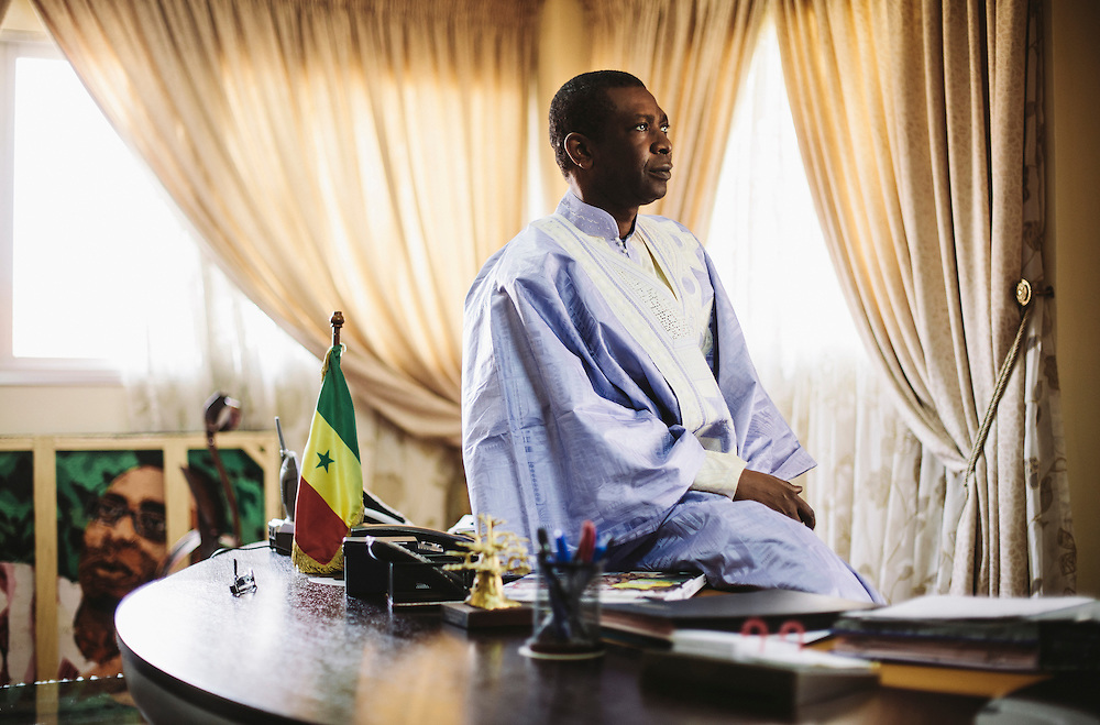 Sengalese politican and singer Youssou N'Dour in his office in Dakar, Senegal, February 2013.