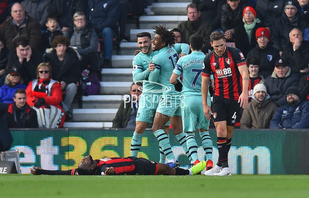 Goal - Jefferson Lerma (8) of AFC Bournemouth lies flat on his back after scoring an own goal to give a 0-1 lead to Arsenal during the Premier League match between Bournemouth and Arsenal at the Vitality Stadium, Bournemouth, England on 25 November 2018.