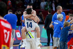 Gasper Vidmar of Slovenia and Matic Rebec of Slovenia celebrate after winning during the Final basketball match between National Teams  Slovenia and Serbia at Day 18 of the FIBA EuroBasket 2017 at Sinan Erdem Dome in Istanbul, Turkey on September 17, 2017. Photo by Vid Ponikvar / Sportida