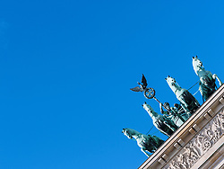 Detail of Quadriga on Brandenburg Gate in Berlin, Germany