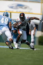 Virginia wide receiver Maurice Covington (80) after a pass reception from Virginia quarterback Jameel Sewell (10).  The North Carolina Tar Heels football team faced the Virginia Cavaliers at Kenan Memorial Stadium in Chapel Hill, NC on September 15, 2007.  UVA defeated UNC 22-20.