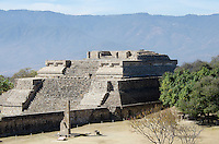 The ruined temple complex called 'Building IV' at Monte Alban, Oaxaca, Mexico.