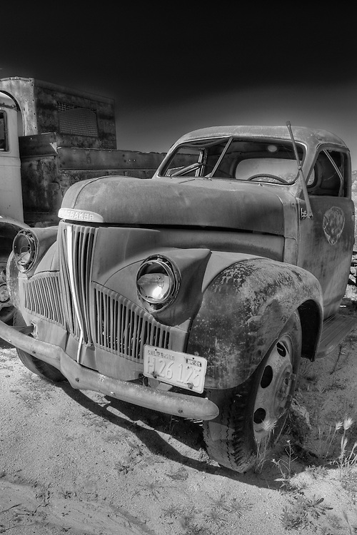 Rusted Vintage Studebaker Truck - Motor Transport Museum - Campo, CA - Infrared Black & White