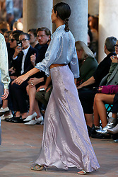 Model walks on the runway during the Alberta Ferretti Fashion Show during Milan Fashion Week Spring Summer 2018 held in Milan, Italy on September 20, 2017. (Photo by Jonas Gustavsson/Sipa USA)