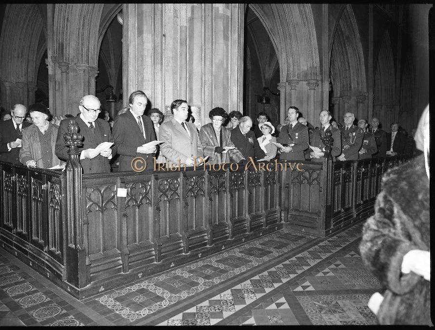 Remembrance Day Service.1983.13.11.1983.11.13.1983.13th November 1983..A remembrance service was held in St Patrick's Cathederal, Dublin,(Poppy Day) to commerate the Irish Fallen who died  whilst on service with the British Army in the two World Wars..Photograph of (from left) Mr Patrick Cooney T.D.Minister for Defence,Mr Sean Barrett T.D.,Minister of State at the Dept., of An Taoiseach,Mr Peter Sutherland S.C.,Attorney General,Lady and Lord Carew and major General William Prendergast.