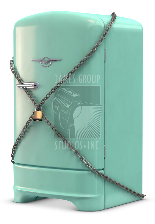 A retro turquoise colored refrigerator on white. Includes Clipping Path!!