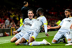 Harry Wilson of Derby County celebrates with teammates after scoring a goal 1-1 - Mandatory by-line: Robbie Stephenson/JMP - 25/09/2018 - FOOTBALL - Old Trafford - Manchester, England - Manchester United v Derby County - Carabao Cup