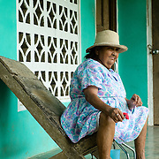 Old Lady in the town of Rincon Santo in the region of Ocu, Province of Herrera, Republic of Panama.  Ocu is an area of the country well known for the fabrication of typical Panamanian dress.
