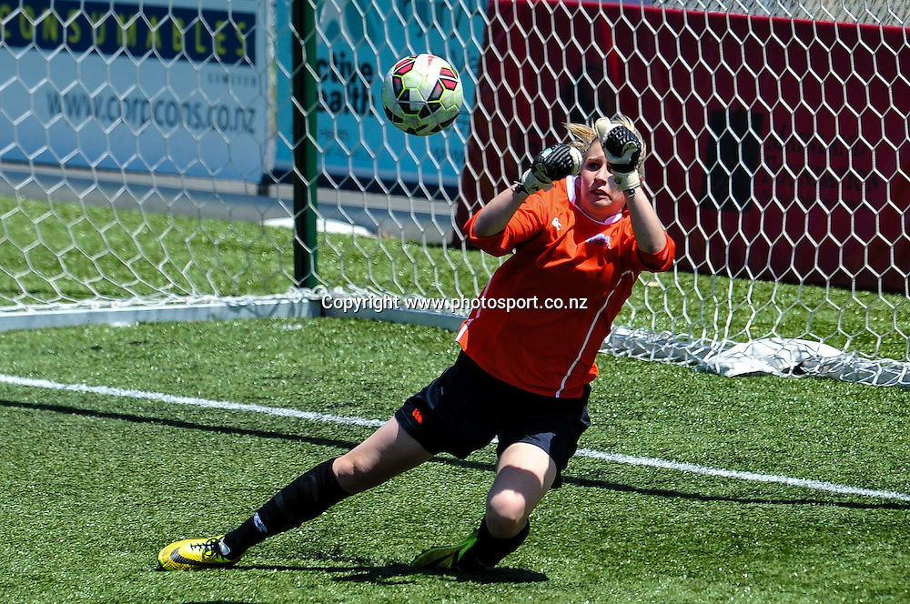 Tessa Nical of the Football South saves a shoot on goal in the ASB Womens League match, Mainland Pride v Football South, 23 November 2014. Photo:John Davidson/www.photosport.co.nz