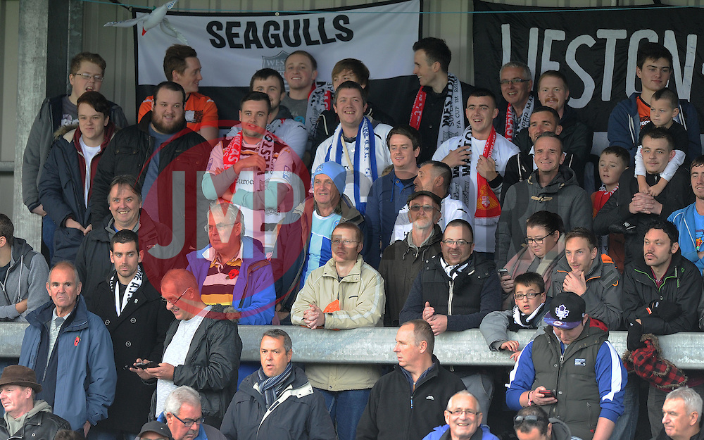 Weston Super Mare Fans. - Photo mandatory by-line: Alex James/JMP - Mobile: 07966 386802 - 08/11/2014 - SPORT - Football - Weston-super-Mare - Woodspring Stadium - Weston-super-Mare v Doncaster - FA Cup - Round One