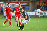 Goalscorer Accrington Stanley's Sean McConville (11) shoots during the EFL Sky Bet League 2 match between Accrington Stanley and Coventry City at the Fraser Eagle Stadium, Accrington, England on 14 October 2017. Photo by John Potts.