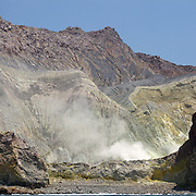 Whakaari or White Island is an active volcano, situated 48 km from the east coast of the North Island of New Zealand, in the Bay of Plenty. .The island is roughly circular, about 2 km in diameter, and rises to a height of 321 m  above sea level. Sulphur mining was attempted but was abandoned in 1914 after ten workers were killed. It is New Zealand's only active marine volcano and perhaps the most accessible on earth, attracting scientists and volcanologists worldwide as well as many tourists. It is part of the Taupo Volcanic Zone.. The main activities on the island now are guided tours and scientific research. White Island, New Zealand, 5th December 2010.  Photo Tim Clayton.
