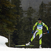 Winter Olympics, Vancouver, 2010. Anastazia Kuzmina, Slovakia, winning the Gold Medal in the Women's 7.5 KM Sprint Biathlon at The Whistler Olympic Park, Whistler, during the Vancouver  Winter Olympics. 13th February 2010. Photo Tim Clayton