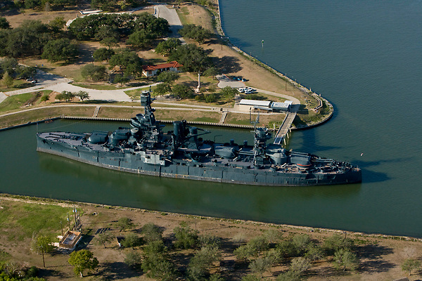 Aerial view of the historic Battleship Texas docked at the Port of Houston