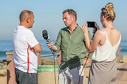 England Rugby Press Conference, South Africa Tour with Chris Jones BBC rugby reporter and commentator at the beach.In front of the team Hotel Umhlanga, Durban,South Africa.19,06,2018 Photo by (Steve Haag JMP)