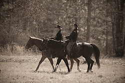 two men on horseback at a civil war reenactment in South Carolina