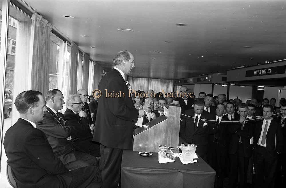 28/04/1964<br /> 04/28/1964<br /> 28 April 1964<br /> Shop Equipment Exhibition Opened at the Intercontinental Hotel, Dublin. Minister for Industry and Commerce, Jack Lynch T.D., opening the exhibition on behalf of the R.G.D.A.T.A. (Retail Grocery Dairy & Allied Trades Association). Also in the image are Leo keogh, General Secretary R.G.D.A.T.A. and P.J. Cleary, President of the R.G.D.A.T.A..
