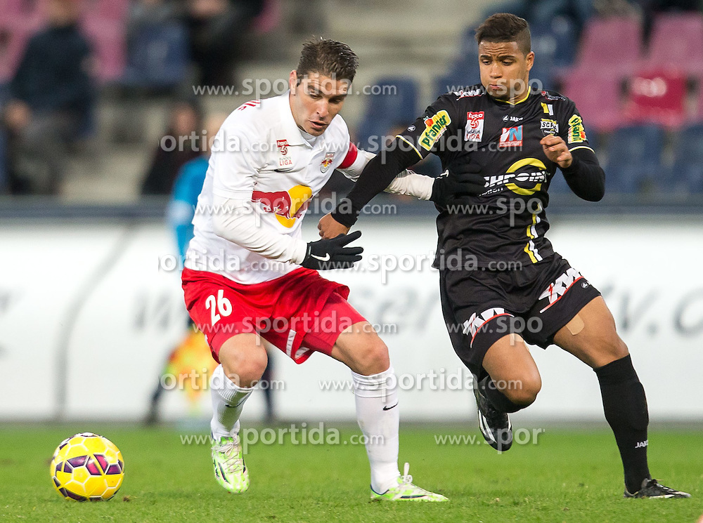 07.03.2015, Red Bull Arena, Salzburg, AUT, 1. FBL, FC Red Bull Salzburg vs SCR Cashpoint Altach, 24. Runde, im Bild v.l.: Jonatan Soriano (FC Red Bull Salzburg, #26), Ismael Tajouri, (SCR Altach, #17) // during Austrian Football Bundesliga 24th round Match between FC Red Bull Salzburg and SCR Cashpoint Altach at the Red Bull Arena, Salzburg, Austria on 2015/03/07. EXPA Pictures © 2015, PhotoCredit: EXPA/ JFK