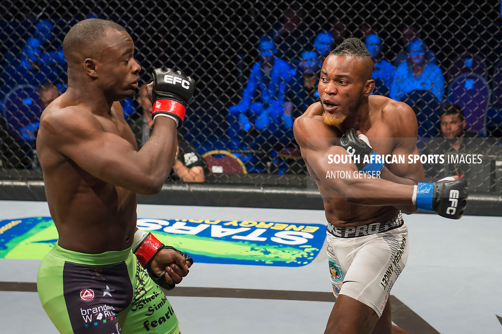 JOHANNESBURG, SOUTH AFRICA - MAY 13: (L-R) Anicet Kanyeba and Rob Simbowe in action during EFC 59 Fight Night at Carnival City on May 13, 2017 in Johannesburg, South Africa. (Photo by Anton Geyser/EFC Worldwide/Gallo Images)