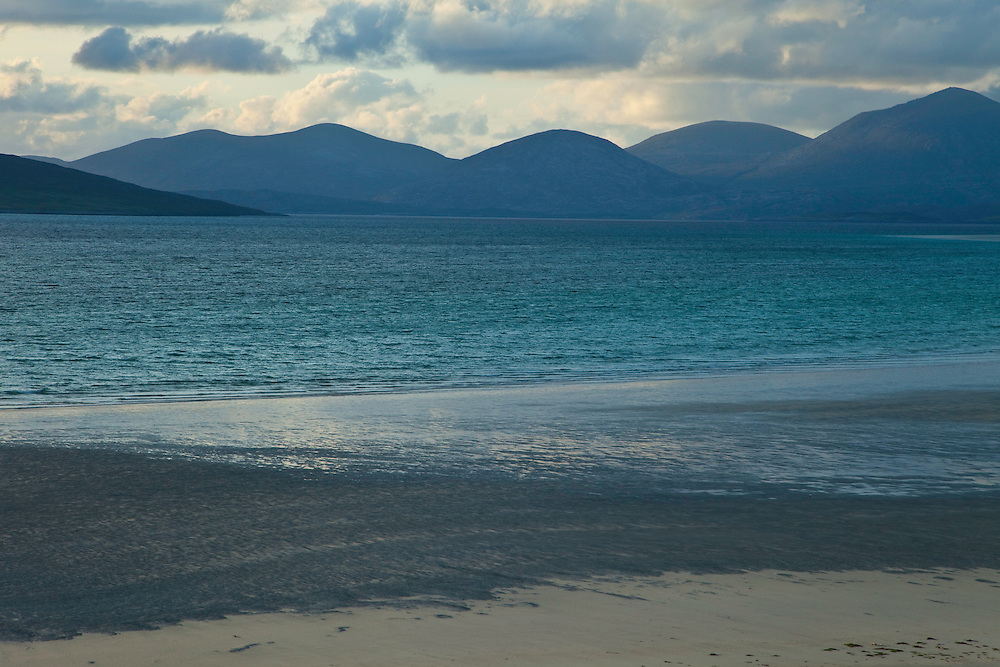 Vista panorámic de North Harris desde playa Seilebost. Panoramic view of North Harris from Seilebost Beach. South Harris Island. Outer Hebrides. Scotland, UK