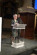 JOAN JONAS; IWONA BLAZWICK;OBE; ,  Whitechapel Gallery Art Icon Gala, supported by the Swarovski Foundation, Honoring the lifetime achievement of Joan Jonas. Christ Church Spitafields. London.