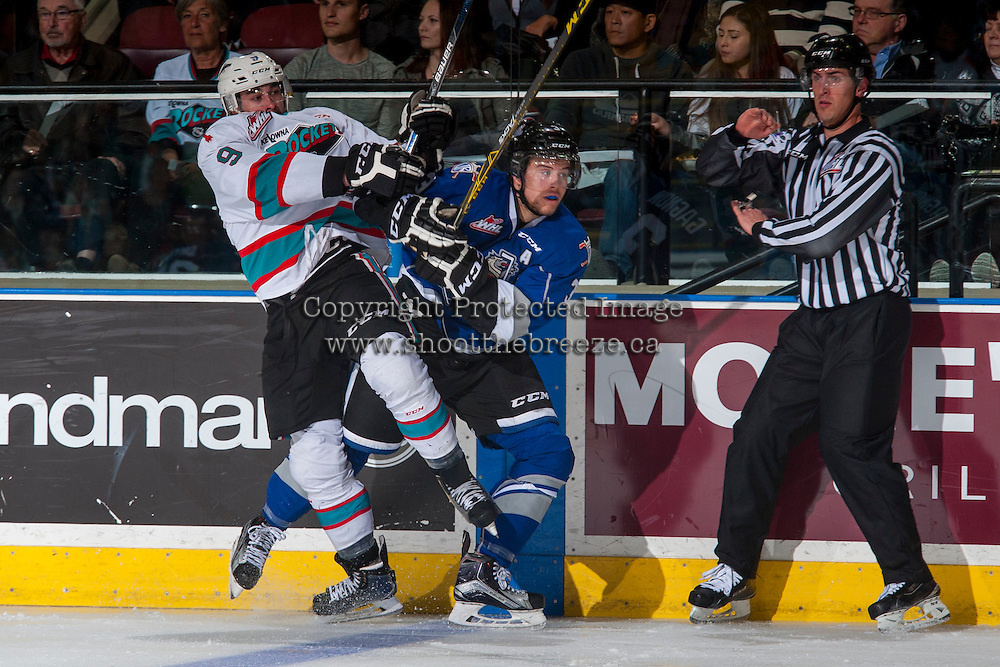 KELOWNA, CANADA - APRIL 14: Tanner Wishnowski #9 of Kelowna Rockets checks Ryan Gagnon #3 of Victoria Royals during second period on April 14, 2016 at Prospera Place in Kelowna, British Columbia, Canada.  (Photo by Marissa Baecker/Shoot the Breeze)  *** Local Caption *** Tanner Wishnowski; Ryan Gagnon;