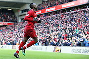 Liverpool forward Sadio Mane (10) celebrates his goal 4-2 with a thumbs up to the fans during the Premier League match between Liverpool and Burnley at Anfield, Liverpool, England on 10 March 2019.