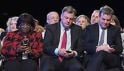 Ed Balls on their mobiles during Andy Burnham's speech  on their mobiles during Andy Burnham's speech during the Labour Party Conference in Manchester, October 3,  2012, Photo by Elliott Franks / i-Images