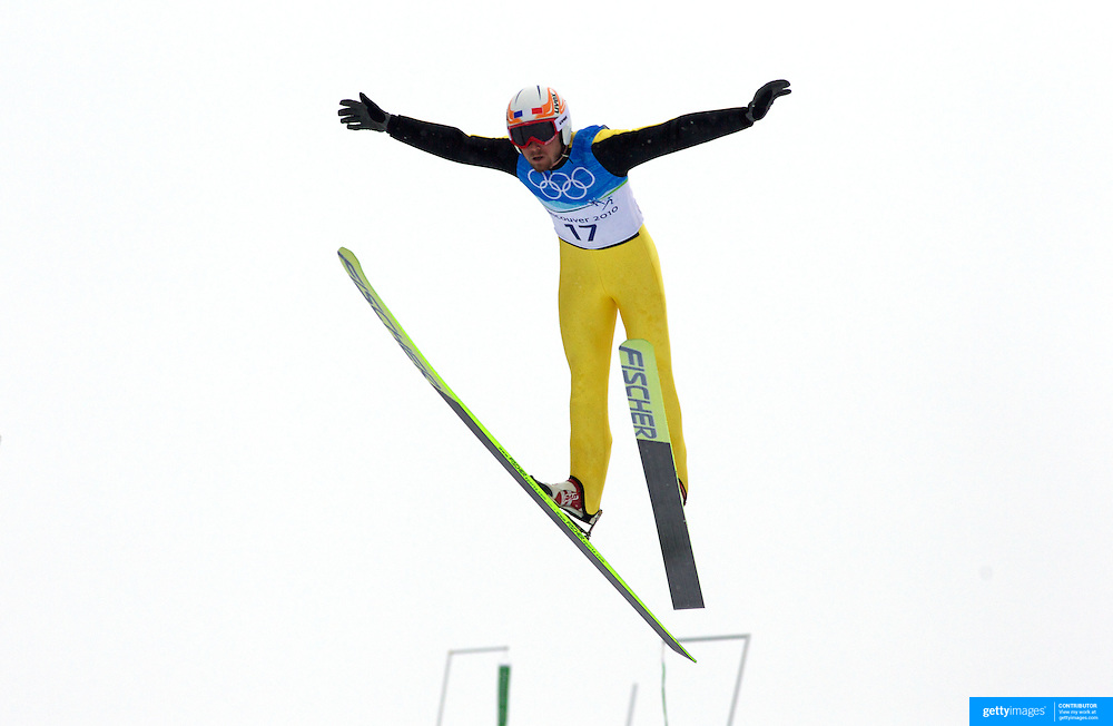 Winter Olympics, Vancouver, 2010.Jonathan Felisaz, France,  in action during the Nordic Combined Ski Jumping at The Whistler Olympic Park, Whistler, during the Vancouver  Winter Olympics. 12th February 2010. Photo Tim Clayton