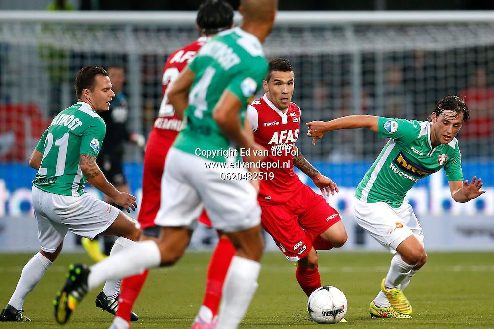 DORDRECHT - 30-08-2014 - Dordrecht - AZ, Krommedijk  Stadion, 1-3, FC Dordrecht speler Joris van Overeem (r), AZ speler Celso Ortiz (2vr).