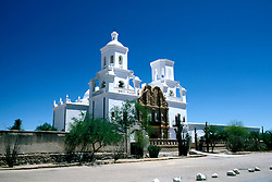 Arizona: Tucson.  Xavier del Bac Church.   Photo #:  aztucs104.  .Photo copyright Lee Foster, 510/549-2202,  lee@fostertravel.com, www.fostertravel.com
