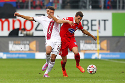 24.09.2014, Voith Arena, Heidenheim, GER, 2. FBL, 1. FC Heidenheim vs 1. FC Nuernberg, 7. Runde, im Bild Links Alessandro Schoepf ( 1.FC Nuernberg ) rechts Philip Heise (1.FC Heidenheim) // during the 2nd German Bundesliga 7th round match between 1. FC Heidenheim and 1. FC Nuernberg at the Voith Arena in Heidenheim, Germany on 2014/09/24. EXPA Pictures © 2014, PhotoCredit: EXPA/ Eibner-Pressefoto/ Langer<br /> <br /> *****ATTENTION - OUT of GER*****