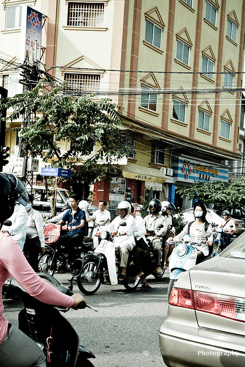 Rush  Hour Moped Traffic in Phnom Penh, Cambodia