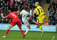 Sunday, 25 November 2012..Pictured: Itay Shechter of Swansea (C) has his shot stopped by goalkeeper Pepe Reina (R) while closely marked by Daniel Agger both of Liverpool..Re: Barclays Premier League, Swansea City FC v Liverpool at the Liberty Stadium, south Wales.