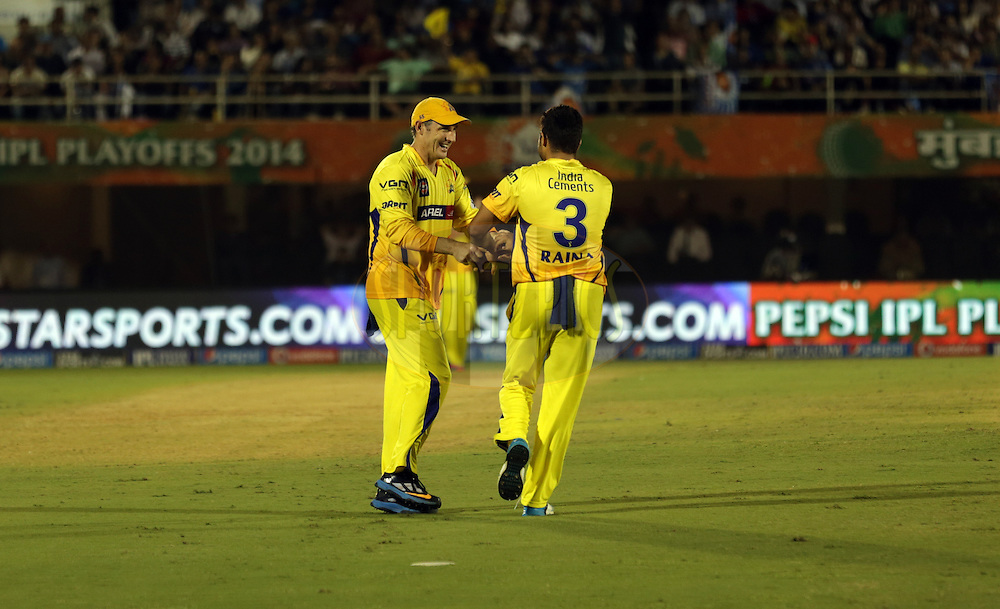 during the eliminator match of the Pepsi Indian Premier League Season 2014 between the Chennai Superkings and the Mumbai Indians held at the Brabourne Stadium, Mumbai, India on the 28th May  2014<br /> <br /> Photo by Sandeep Shetty / IPL / SPORTZPICS<br /> <br /> <br /> <br /> Image use subject to terms and conditions which can be found here:  http://sportzpics.photoshelter.com/gallery/Pepsi-IPL-Image-terms-and-conditions/G00004VW1IVJ.gB0/C0000TScjhBM6ikg