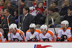 Jan 21; Newark, NJ, USA; Philadelphia Flyers head coach Peter Laviolette during the second period of their game against the New Jersey Devils at the Prudential Center.