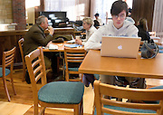 Marie Braasch studies at her computer in The Front Room coffee shop in O.U.'s new Baker Center on Tuesday, 1/08/07.