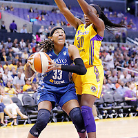 17 June 2014: Los Angeles Sparks forward Nneka Ogwumike (30) defends on Minnesota Lynx guard Seimone Augustus (33) during the Minnesota Lynx  94-77 victory over the Los Angeles Sparks, at the Staples Center, Los Angeles, California, USA.