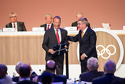 LIMA, Sept. 16, 2017  International Olympic Committee (IOC) President Thomas Bach (R) and newly elected IOC honorary member Gerard Heiberg react during the 131st IOC session in Lima, Peru, on Sept. 15, 2017. The 131st IOC session concluded on Friday. (Credit Image: © Li Ming/Xinhua via ZUMA Wire)