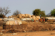 Huts and shelters in a Samburu Maasai village. Samburu Maasai is an ethnic group of semi-nomadic people Photographed in Samburu, Kenya
