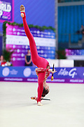Nikolchenko Vlada during final at clubs in Pesaro World Cup April 15, 2018. Vlada is a gymnast from Ukraine born in Kharkiv, 2002 .Her goal is compete at the 2020 Olympic