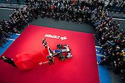 Circuito de Jerez, Spain : Formula One Pre-season Testing 2014. Scuderia Toro Rosso drivers Jean-Eric Vergne (FRA) and Daniil Kvyat, (RUS) unveil the STR-9 to the media in the pit lane at Jerez.