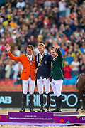 Podium 1. Peder Fredricson - H&M All In, 2. Harrie Smolders - DON VHP Z, 3. Cian O' Connor - Good Luck<br /> FEI European Championships Gothenburg 2017<br /> © DigiShots
